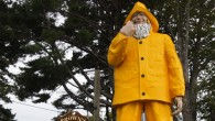 "The iconic fisherman outside ""Brown's Wharf"" in Boothbay Harbor, ME."